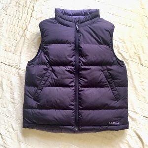 LL Bean Purple Reversible Goose  Down Puffer Vest